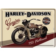 Harley-Davidson Flathead - Metalna razglednica