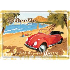 VW Beetle - Ready for the Beach - Metalna razglednica
