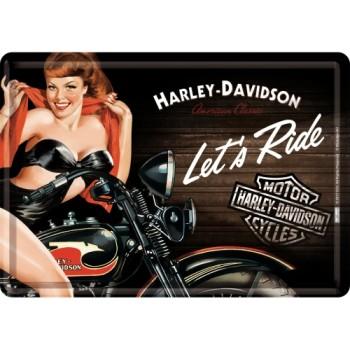 Harley-Davidson - Biker Babe Red - Metalna razglednica