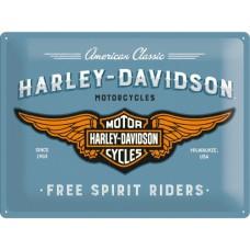 Harley-Davidson - Logo Blue - Znak 30x40cm